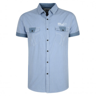 Smith & Jones Thornbury Stripe Shirt Short Sleeve Illusion Blue Image