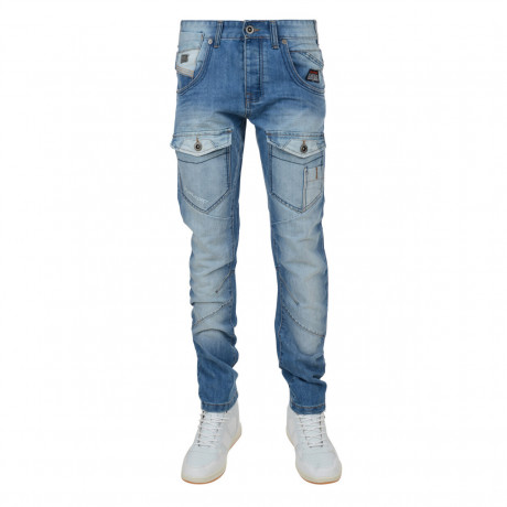 Rawcraft Tapered Fit Denim Jeans Faded Lightwash Blue Image