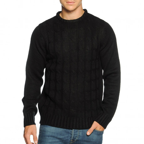 Soul Star Crew Neck Knitted Twister Jumper Black Image