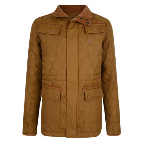 Crosshatch Slim Fit Quilted Jacket Mustard Image