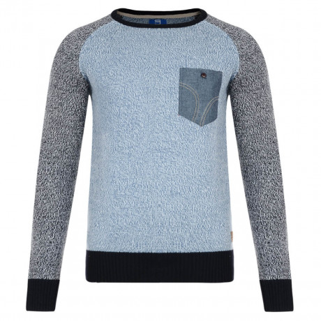 Smith & Jones Crew Neck Knitted Twister Jumper Coronet Blue Image