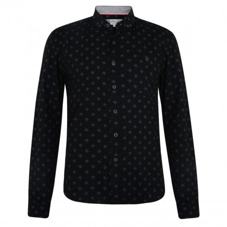 Smith & Jones Print Shirt Long Sleeve Cotton Black Image
