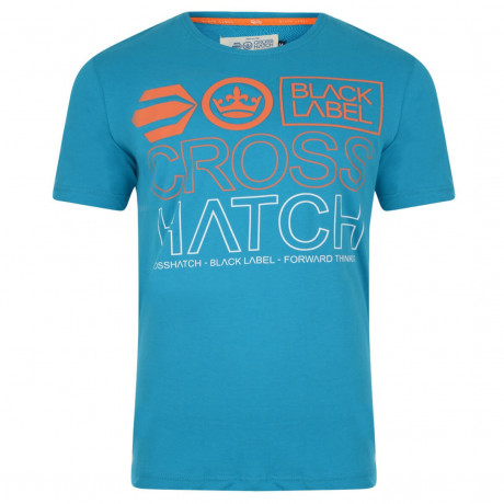 Crosshatch Printed Beatout Logo T-shirt Carribean Sea Image
