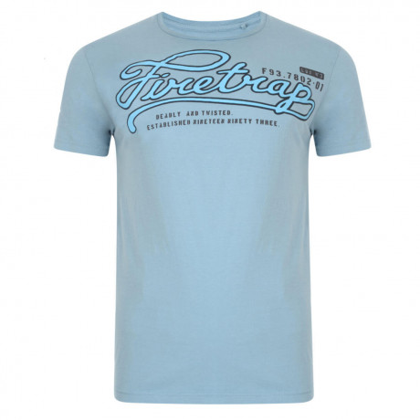 Firetrap Crew Neck Player Print T-shirt Ash Blue Image