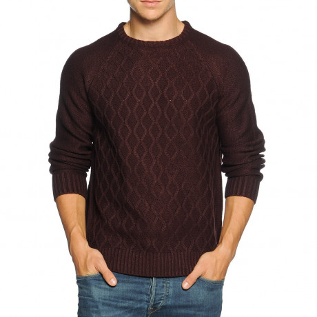 Soul Star Crew Neck Knitted Jumper Burgundy Image