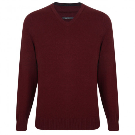 Esprit V-Neck Cotton Blend Jumper Burgundy Image