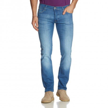 Lee Powell Slim Tapered Faded Blue Denim Jeans Image