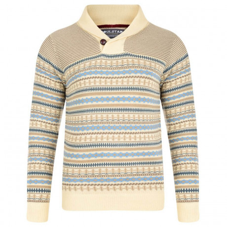 Soul Star Shawl Neck Norwegian Knitted Jumper Sand Beige Image