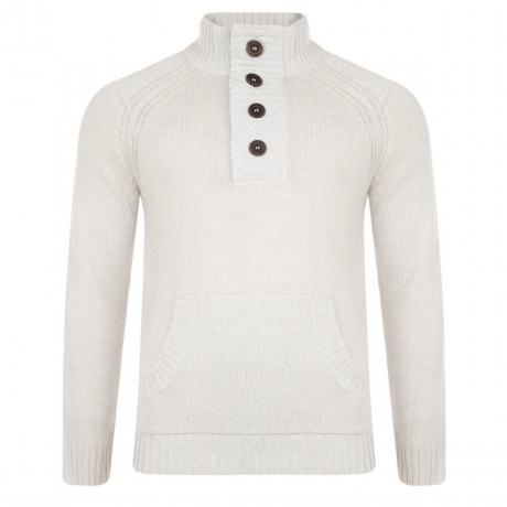Smith & Jones Y Neck Knit Jumper Vapour Stone Image