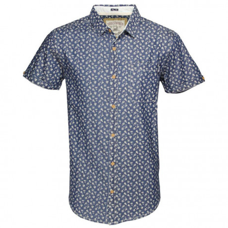Soul Star Short Sleeve Retro Floral Shirt Blue Image