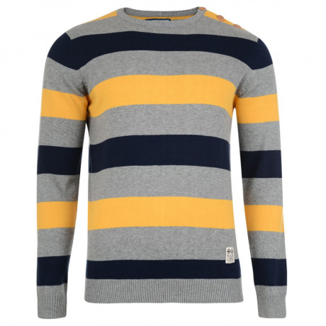 Crosshatch Crew Neck Stripe Jumper Katter Yellow Image