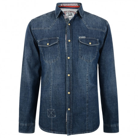 Soul Star Fashion Denim Shirt Mid Blue Image