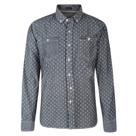Firetrap Shirt Long Sleeve Printed Cotton Black Wash Image
