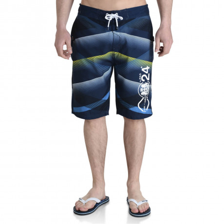 Smith & Jones Swim Beach Shorts & Flip Flop Set Stripe Navy Blue Image