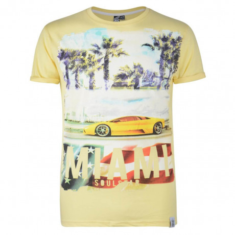 Soul Star Print T-shirt Miami Car Yellow Image
