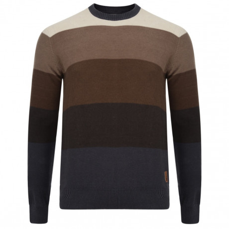Crosshatch Crew Neck Stripe Jumper Girton Brown Image