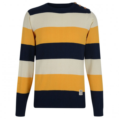 Crosshatch Crew Neck Striped Jumper Yellow Image