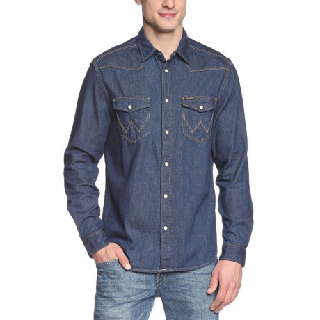 Wrangler Dark Indigo Blue Denim Shirt Image
