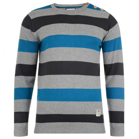 Crosshatch Crew Neck Stripe Jumper Katter Blue Image