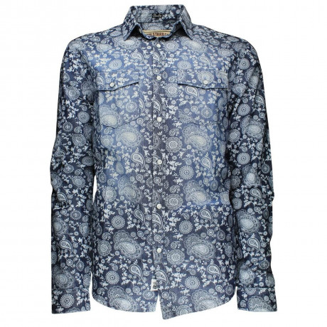 Soul Star Long Sleeve Retro Floral Shirt Dark Blue Image