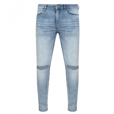 Ringspun Apollo Ripped Super Skinny Stretch Denim Jeans Light Blue | Jean Scene