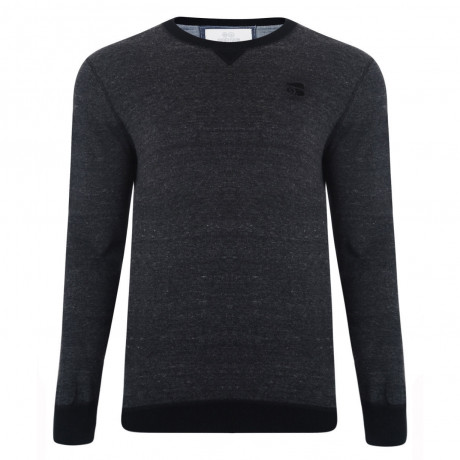Crosshatch Crew Neck Acrylic Backsands Jumper Grey Marl | Jean Scene