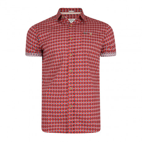 Lee Cooper Barling Nordic Pattern Shirt Short Sleeve Red | Jean Scene