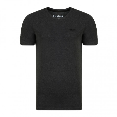 Firetrap Basic Vee Neck Cotton Plain T-shirt Charcoal Marl | Jean Scene