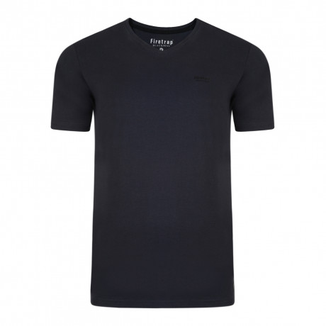 Firetrap Basic Vee Neck Cotton Plain T-shirt Navy | Jean Scene