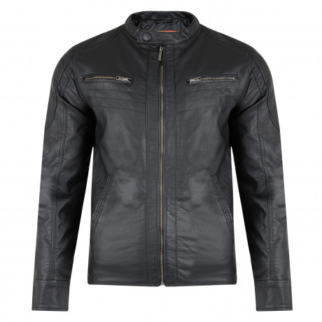 Crosshatch Blackbird Faux Leather Biker Jacket Black | Jean Scene