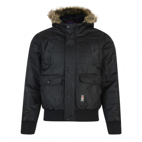 Crosshatch Men's Bombdrop Faux Fur Parka Jacket Black