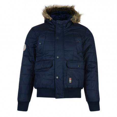 Crosshatch Men's Bombdrop Faux Fur Parka Jacket Iris Blue