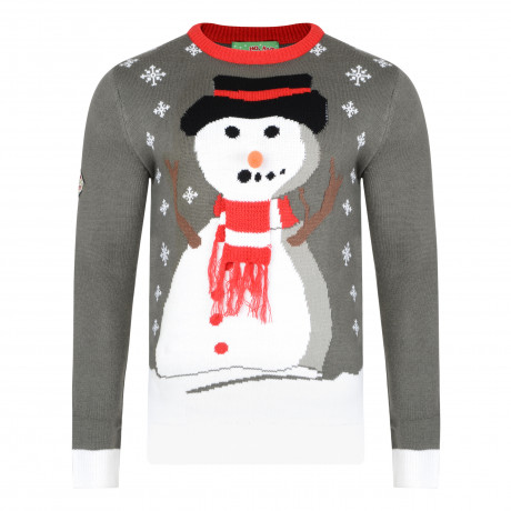 3D Xmas Novelty Jumper Crew Neck Christmas Knit Carrot Nose Snowman Charcoal | Jean Scene
