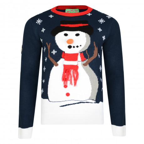 3D Xmas Novelty Jumper Crew Neck Christmas Knit Carrot Nose Snowman Navy | Jean Scene