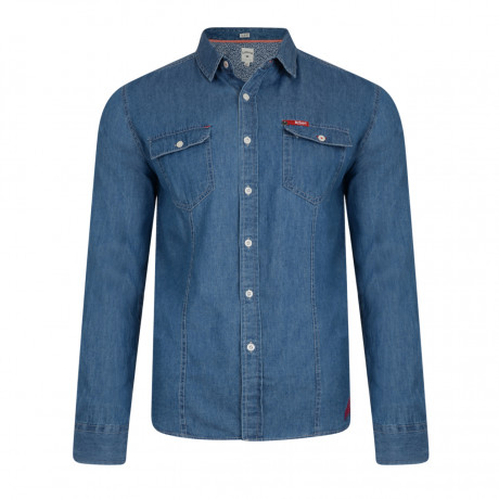 Lee Cooper Men's Long Sleeve Charrisworth Denim Shirt Mid Wash | Jean Scene