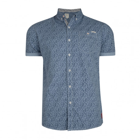 Lee Cooper Chicksand Floral Pattern Shirt Short Sleeve Dusty Blue | Jean Scene