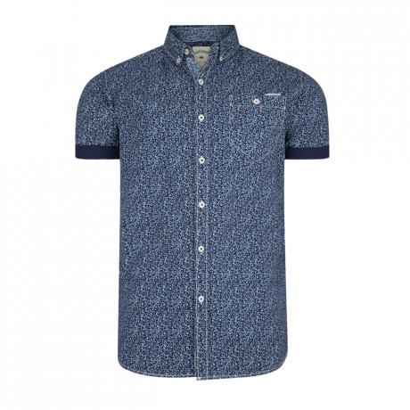 Lee Cooper Chicksand Floral Pattern Shirt Short Sleeve Midnight Blue | Jean Scene