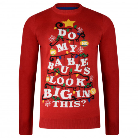 Christmas Jumper Funny Crew Neck Baubles Xmas Tree Red | Jean Scene