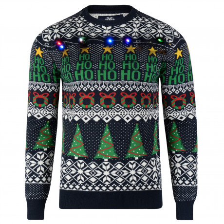 Light Up Novelty Christmas Jumper Crew Neck LED Wrapping Navy | Jean Scene