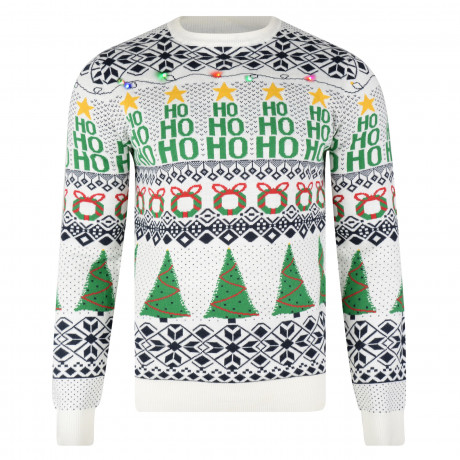 Light Up Novelty Christmas Jumper Crew Neck LED Wrapping Ecru | Jean Scene