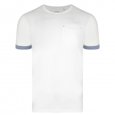 Ringspun Clifton Crew Neck Cotton Plain T-shirt Off White | Jean Scene