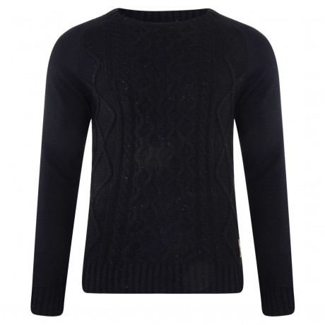 Crosshatch Crew Neck Acrylic Cockerham Jumper Black | Jean Scene