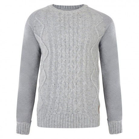 Crosshatch Crew Neck Acrylic Cockerham Jumper Grey Marl | Jean Scene