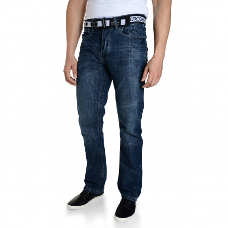 Crosshatch Baltimore Straight Leg Denim Jeans Midwash | Jean Scene