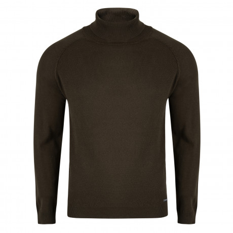 Threadbare Dillon High Polo Neck Cotton Jumper Sage Green | Jean Scene