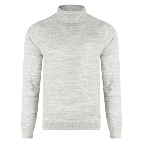 Threadbare Dillon High Polo Neck Cotton Jumper Grey | Jean Scene