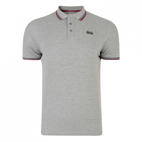 Crosshatch Downtalk Polo Pique T-Shirt Grey Marl | Jean Scene