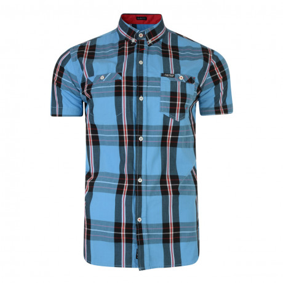 Firetrap Dunloe Check Shirt Short Sleeve Delfi Blue   Jean Scene