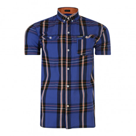 Firetrap Dunloe Check Shirt Short Sleeve Vallarta Blue | Jean Scene