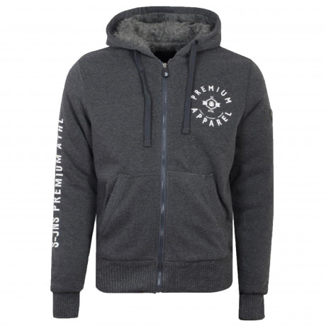 Smith & Jones Zip Up Men's Electra Hoodie Black Marl | Jean Scene